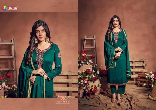 Sanskruti Gulshan Latest Fancy Designer Heavy Fancy Festive Wear Pure Jam Satin With Embroidery Work Designer Dress Material