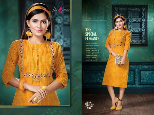 Fly Free Pari Designer Daily Ethnic Wear Embroidery Work Kurtis Collection