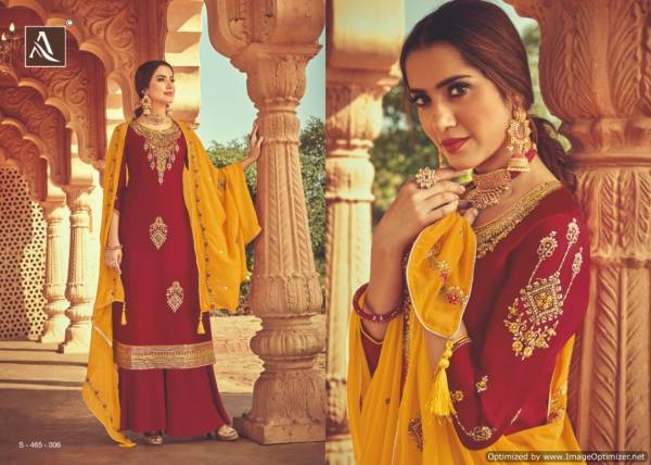 Alok Heritage Pure Satin Georgette With Heavy Embroidery with Sleeve Work & Hand Stone Work Heavy Embroidery Dupatta with Four Side Piping Lace
