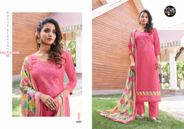FOUR DOTS SIMRAN Latest Fancy Festive Wear jam silk Cotton With Embroidery Work Heavy Salwar suit collection