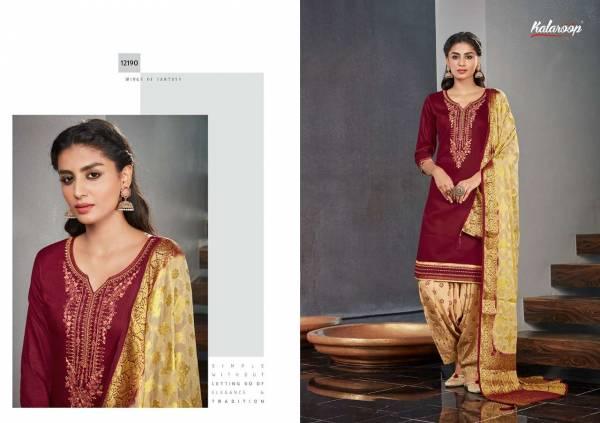 Kalaroop Suvarna By Patiyala 4 Pure Jam Silk Embroidery Work Ready Made Salwar Suits Collection