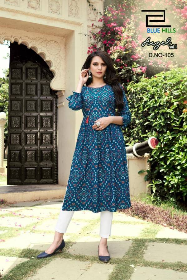Blue Hills Angel 1 Latest Fancy Designer Ethnic Wear Rayon Printed Kurti Collection