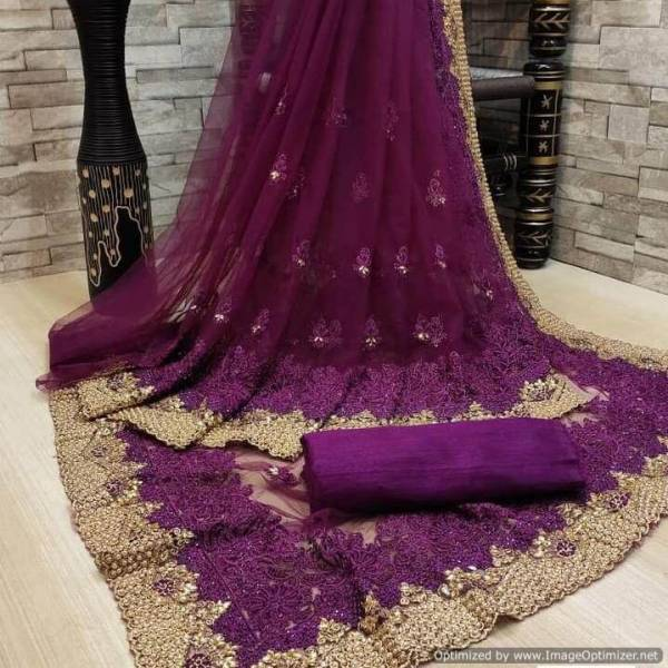 Latest Stylish Fancy Party Wear Designer Full Net Saree With Embroidery Work Stone Work Saree Collection