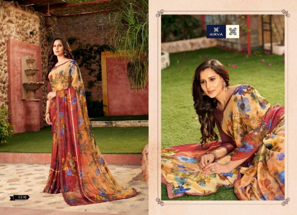 Hirva Avantika 1301 Series Latest Fancy Casual Wear Digital Printed Chiffon Saree Collection