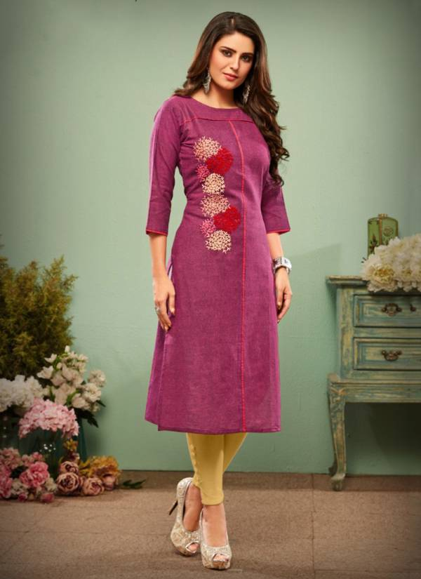 Impression Hamdloom Cotton Designer Hand Embroidery Festival Wear Kurti Collection 1001-1008