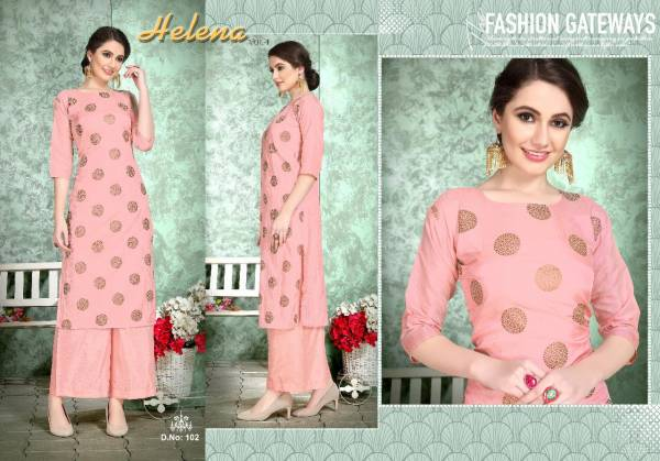 VARNI HELENA VOL-01 Latest Fancy Designer Casual Wear Soft Dola silk with Foil Print Kurtis With palazzo Collection
