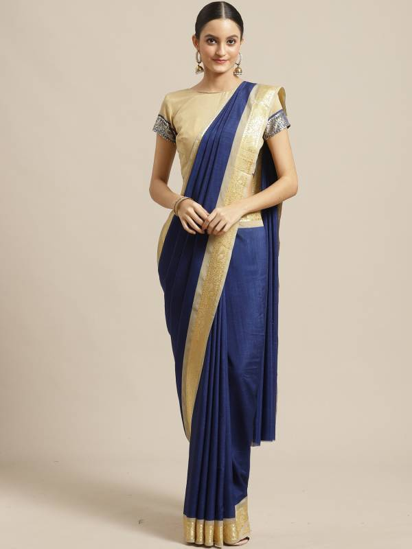 New Collection Of Plain Georgette Saree With Golden Border
