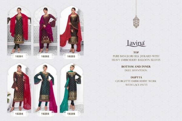 Lavina Vol 102 Latest Heavy Designer Stylish Wedding Wear Salwar Suit With Heavy Embroidery Work With Balloon Sleeves With Embroidery Work And Lace Patii Dupatta