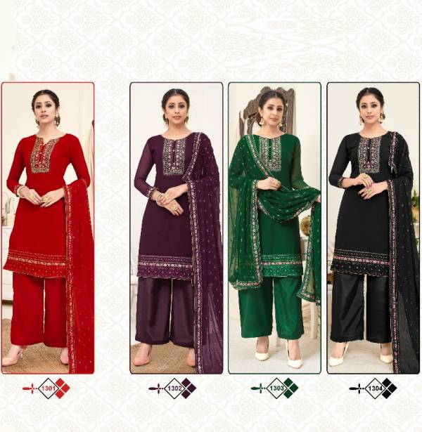 Zeeya Haseen 1301 Series Heavy Embroidered Dress Material at Wholesale Price