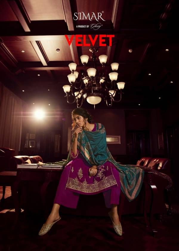 Glossy Simar Velvet 1530 Series Desginer Party Wear Salwar Suits Collection at Wholesale Price