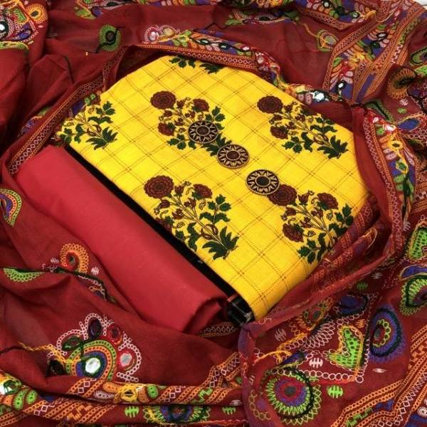 Heavy Designer Printed With Embroidered Dress Material