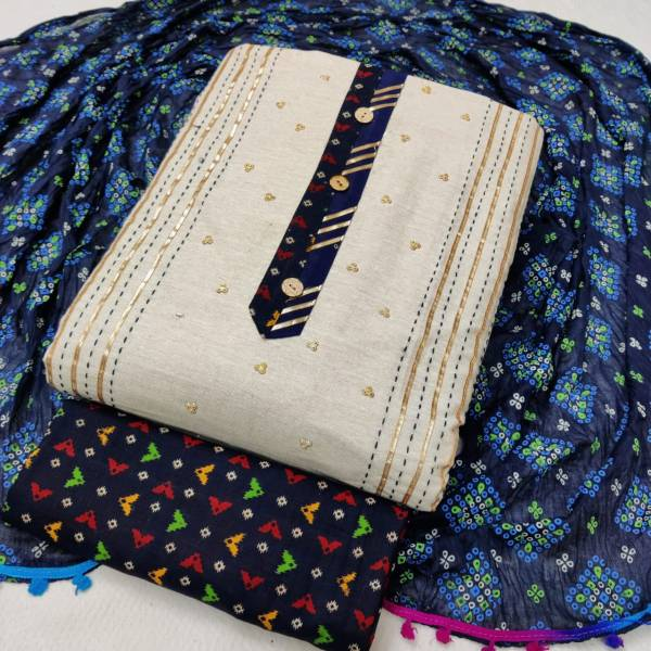 Sc 5044 Latest Designer Festive Wear Khadi Cotton Jaipuri Bandhani Print Dress Material Collection