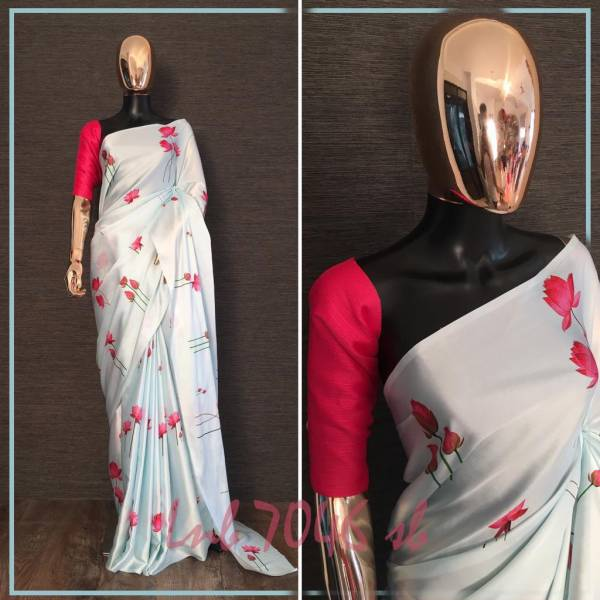 Floral Digital Designer Printed Silk Saree Collection For Party Wear