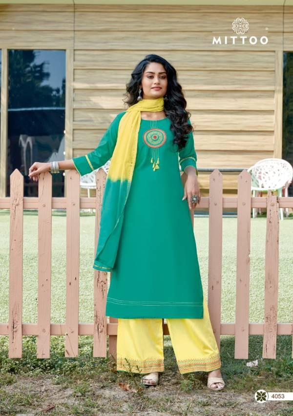 Mittoo Manohari 2 Latest fancy Designer Festive Wear Banarasi Viscose Readymade Salawar Suit Collection