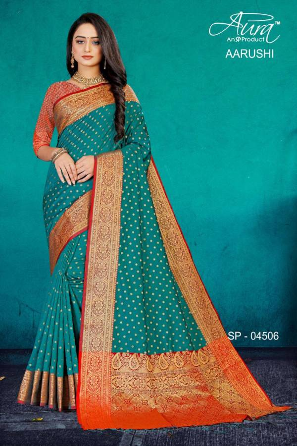 Aura Aarushi Kanjivaram Pattu Silk Designer Party wear Saree Collection at Wholesale Price
