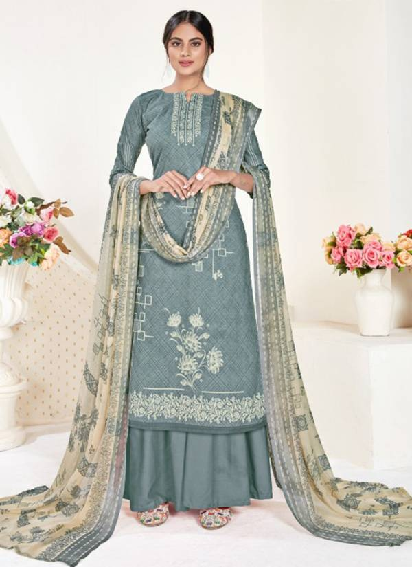 Elegance Cambric Cotton Print With Swarovski Daimond Work Designer Plazzo Suit Collection 1618-001-010