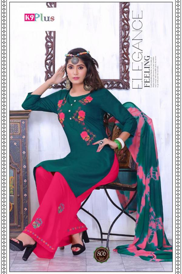 K9 Plus Latest Designer Casual Wear Ready Made Plazzo Suit Collection