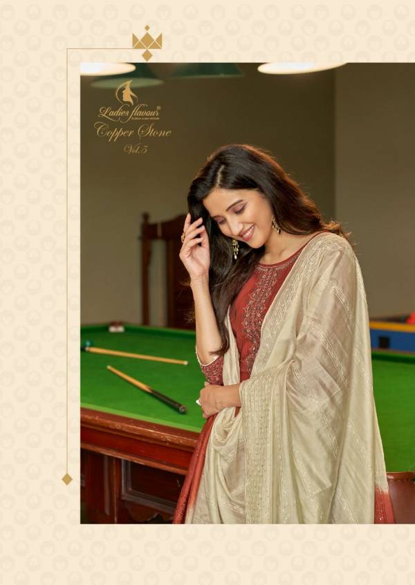 Ladies Flavour Copper Stone 5 Exclusive Designer Viscose With Embroidery With Khatli Work Readymade Collection