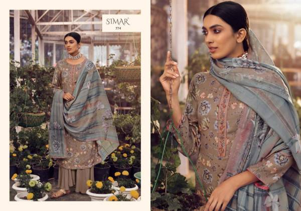 Glossy Simar Gunjan 774 Series Designer Party Wear Embroidered Pashmina Dress Material Collection