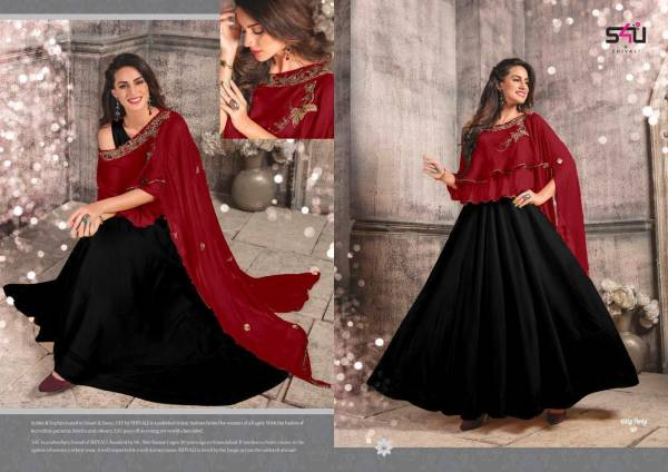 S4U New Launch Of Party Wear And Unique Style Gown With Pure Faux Georgette Heavy Handwork Poncho