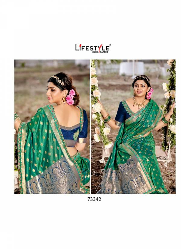 LIFESTYLE SHUBH MILAN Fancy Latest Designer Festive Wear Silk Embroidery Lace With Diamond Work Saree Collection