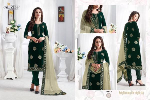 Alizeh Zaida Vol 1 Sequin Embroidered Straight Cut Pant Style Designer Festive Wear Salwar Suit Collection