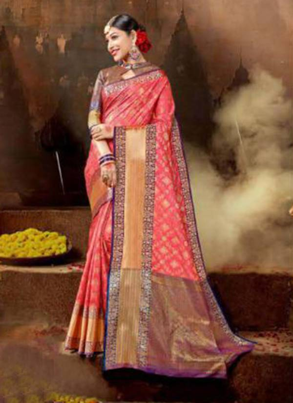 New Collection of Designer Printed Silk Wedding Saree