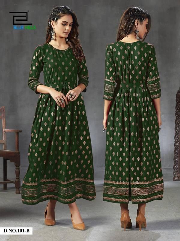 Blue Hills Gold Fever Ethnic Wear Printed Designer Long Kurtis Collection