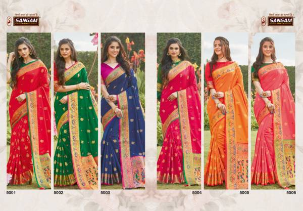 Sangam Pattu Latest Fancy Designer Festive Wear Silk Pure Soft Silk Saree Collection