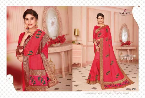 Kalista Tamanna Latest Designer wedding Wear Embroidery Worked vichitra Silk Sarees Collection