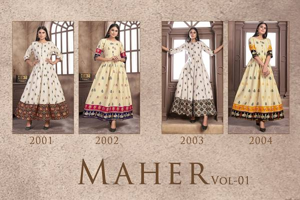 Latest Designer Printed Gown Style Long Kurtis Collection
