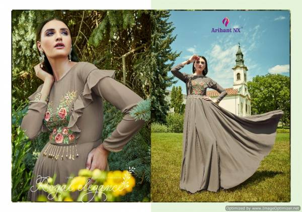 Arihant Heavy Designer Rich Look Party Wear Gown Collection With Malai Crape Inner