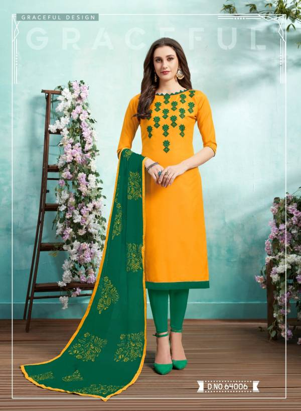 Kiss Miss 64 Designer Lawn Cotton Fancy Churidar Dress Material With Work and Four sided Lace Border Dupatta