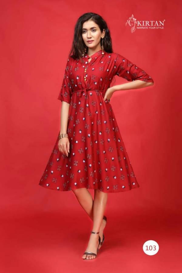 Kirtan Kanika Fancy Designer Casual Wear Rayon Printed Anarkali Kurtis Collection