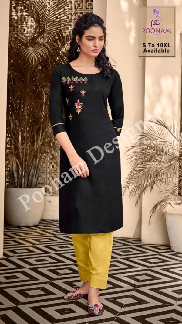 Poonam Kurti House 2 Ethnic Wear Fancy Embroidery Work Slub Cotton Kurtis Collection