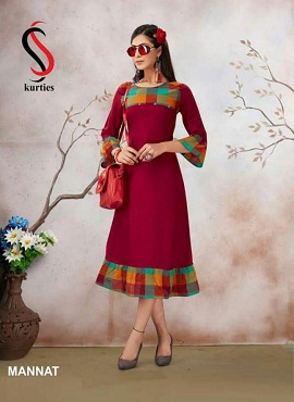 Ss Mannat Latest Beautiful Hand And Neck Designer Daily Wear Anarkali Style Kurti Collection