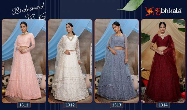 KF Bridesmaid Vol 6 Latest Designer Threads Embroidery Work With Stone Lehenga Collection