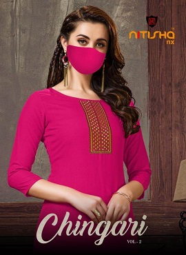 Nitisha Chingari Vol 2 Latest Collection Of Designer Printed Embroidered Casual Wear Kurtis