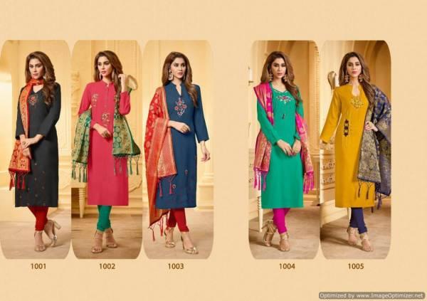 Avc Kanchipuram Stall Latest Designer Festive Wear Cotton Dress Material With Banarasi Jacquard Dupatta