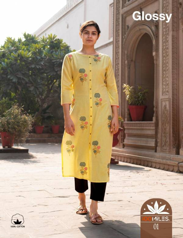100MILES GLOSSY Jam Cotton Designer Embroidered Party Wear Kurtis Collectons