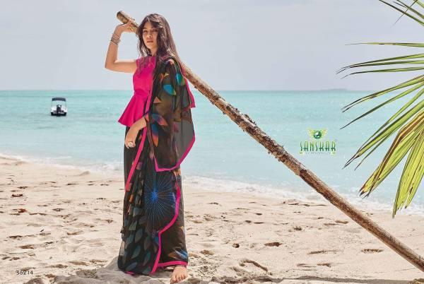 Sanskar Instagram 2 Latest Designer Printed Party Wear Or Running Wear Georgette Saree Collection