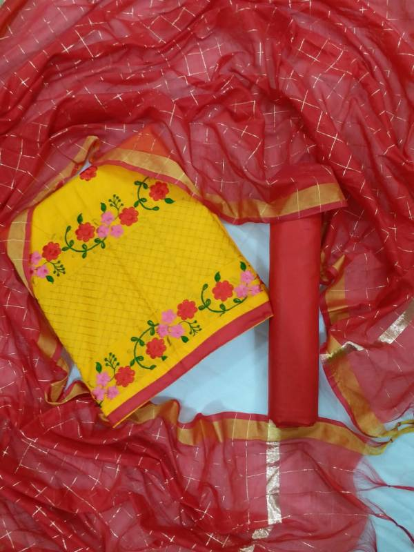 Pc Casual Wear Cotton top With Bottom And Chex Dupatta Dress Material Collection