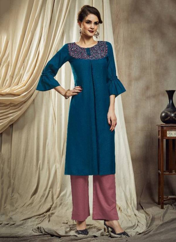 Nitu Cotton Slub Designer Embroidered Kurti With New Cotton With Pattern Pant Collection 2001-2006