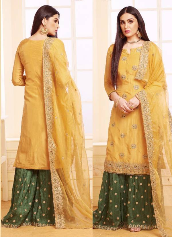 Your Choice Upada Silk Wedding Party Wear Embroidered Shara Suit Collction with Organza Dupatta 3029-3032