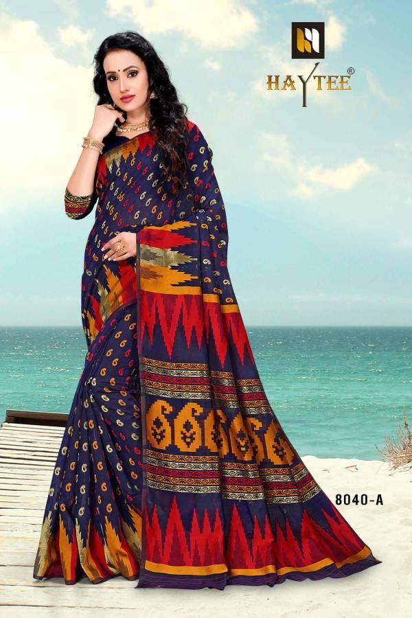 Haytee Arabic 8040 Latest Printed Designer Party Wear Poly Cotton Saree Collection