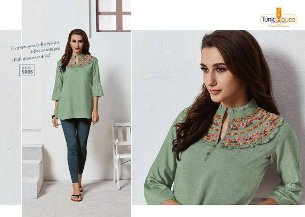 Latest Ladies Rayon Short Tops Collection With Embroidery Work