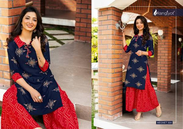 Rangjyot Magnet Vol 3 Latest Party Wear Heavy Rayon Gold Printed Kurti With Bottom Collection