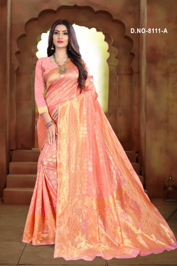 Taal 8111 Latest Designer Traditional Look Wedding Wear Cotton Silk Saree Collection
