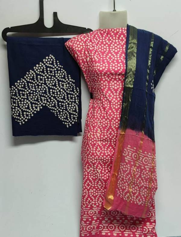 Latest Pure Cotton Bandhani Print Dress Material Collection