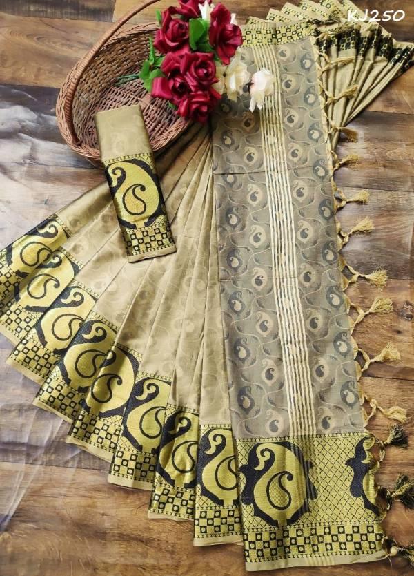 KJ Latest Designer Party Wear Wedding Saree Collection Having Wonderful Border